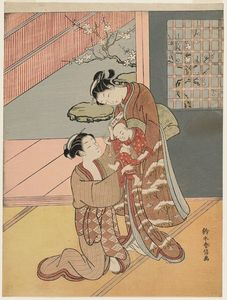 Suzuki Harunobu - Two Women With A Baby And A Letter