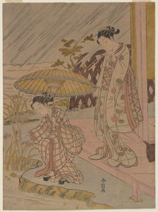 Suzuki Harunobu - Viewing Iris In The Rain