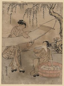 Suzuki Harunobu - Washing And Stretching Cloth