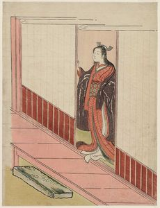 Suzuki Harunobu - Woman Standing In An Open Door
