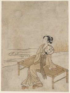 Suzuki Harunobu - Young Woman Viewing The Full Moon On A Summer Evening