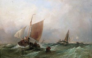 Thomas Sewell Robins - Fishing Craft In A Choppy Sea