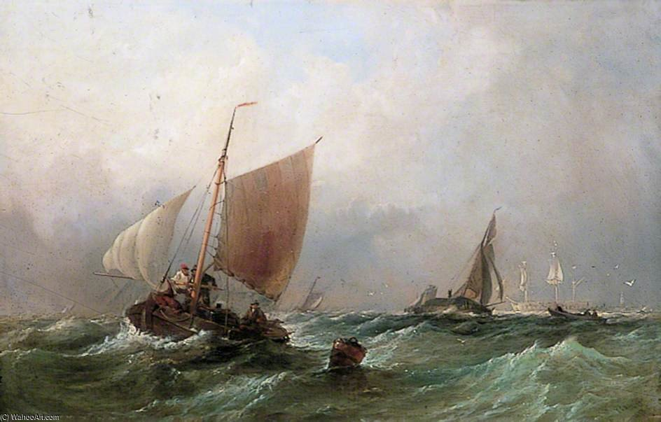 Fishing Craft In A Choppy Sea by Thomas Sewell Robins (1810-1880, United Kingdom)