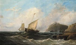 John Callow - Fishermen Hauling In Their Nets Off A Rocky Headline With A Ruined Castle