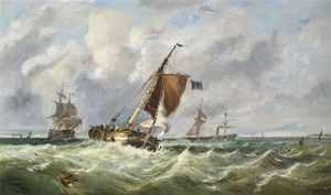 John Callow - Shipping In A Stiff Breeze In The Channel
