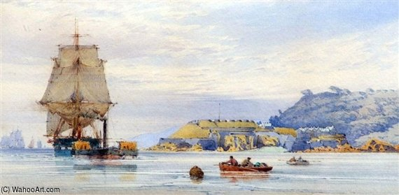 Shipping Off A Coast by John Callow (1822-1878, United Kingdom) | Museum Quality Copies John Callow | WahooArt.com