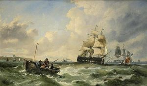 John Callow - Warships And Fishing Boats In The Channel Off The South Coast