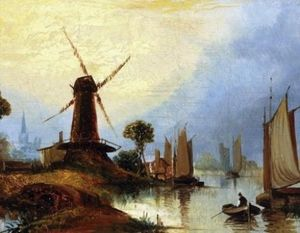 John Paul - River Landscape With Figure, Boats And Windmill