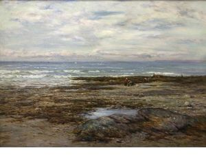 Joseph Henderson - A Seascape With Figures On The Shore