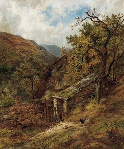Louis Bosworth Hurt - A Garden Corner In Bettws-y-coed