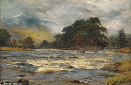A Highland River Landscape by Louis Bosworth Hurt (1856-1929, United Kingdom)
