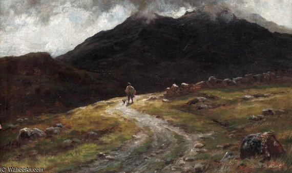 A Mountain Road In Skye - With Scuir-na-gillean by Louis Bosworth Hurt (1856-1929, United Kingdom)