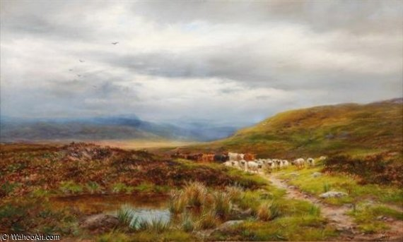 A North Derbyshire Moorland by Louis Bosworth Hurt (1856-1929, United Kingdom) | Famous Paintings Reproductions | WahooArt.com