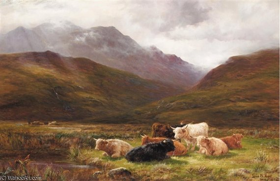 A Pasture In Glen Falloch, Perthshire by Louis Bosworth Hurt (1856-1929, United Kingdom)