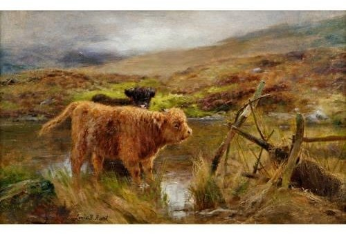 Calves Watering In A Glen by Louis Bosworth Hurt (1856-1929, United Kingdom)