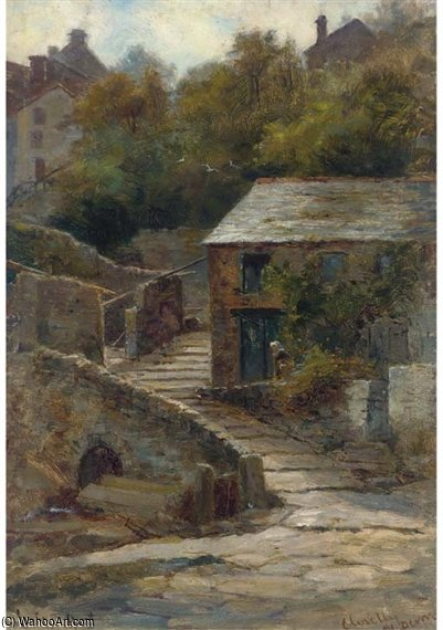 Clovelly, North Devon by Louis Bosworth Hurt (1856-1929, United Kingdom) | Famous Paintings Reproductions | WahooArt.com