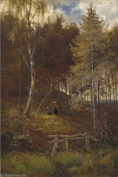 Figures Resting On A Woodland Path by Louis Bosworth Hurt (1856-1929, United Kingdom) | WahooArt.com