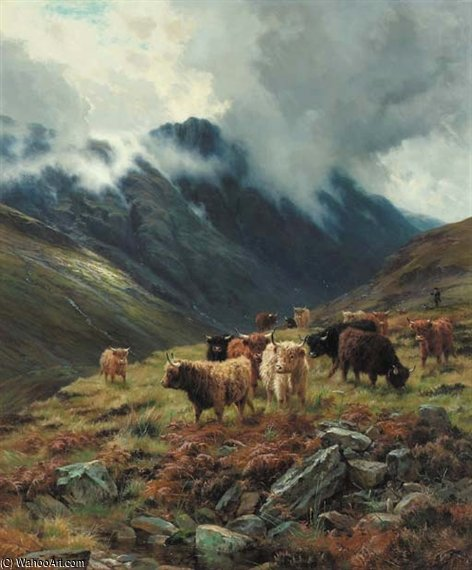 Glencoe, Trailing Mists by Louis Bosworth Hurt (1856-1929, United Kingdom)
