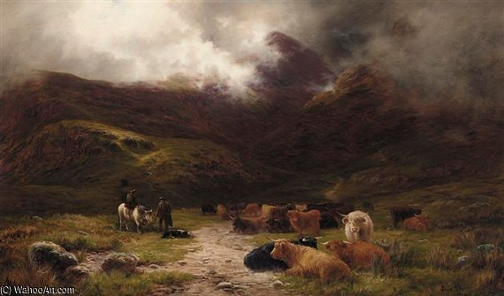 Highland Cattle And Drovers In A Glen by Louis Bosworth Hurt (1856-1929, United Kingdom)