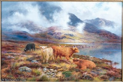 Highland Cattle By A Loch by Louis Bosworth Hurt (1856-1929, United Kingdom)