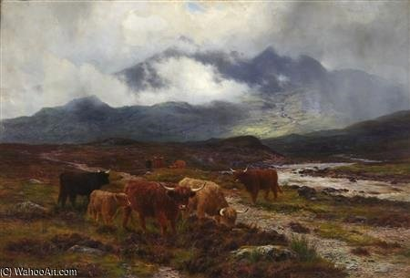 Highland Cattle By A Mountain Stream by Louis Bosworth Hurt (1856-1929, United Kingdom)