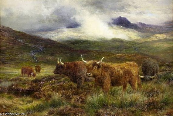 Highland Cattle In A Mountain Landscape by Louis Bosworth Hurt (1856-1929, United Kingdom) | Oil Painting | WahooArt.com