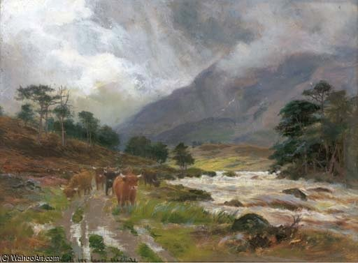 Highland Cattle On A Riverside Path by Louis Bosworth Hurt (1856-1929, United Kingdom) | WahooArt.com