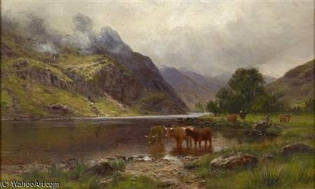 Highland Cattle Watering By The Loch's Edge by Louis Bosworth Hurt (1856-1929, United Kingdom)