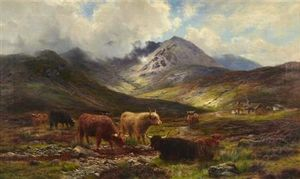Louis Bosworth Hurt - Highland Cattle Watering In A Mountain Glen