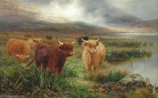 Highland Cattle, Glencoe by Louis Bosworth Hurt (1856-1929, United Kingdom) | WahooArt.com