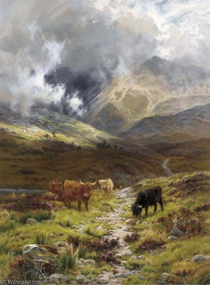 Hills Of Ross Shire, Glen Torridon by Louis Bosworth Hurt (1856-1929, United Kingdom)