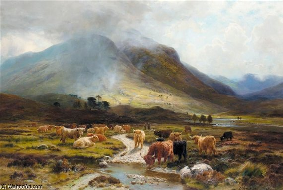 In Glen Orchy, Early Autumn by Louis Bosworth Hurt (1856-1929, United Kingdom)