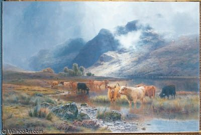Loch Lubnaig And Ben Vane, Strathyre by Louis Bosworth Hurt (1856-1929, United Kingdom) | Painting Copy | WahooArt.com