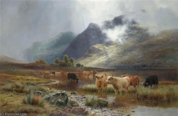 Loch Lubnaig And Ben Vane by Louis Bosworth Hurt (1856-1929, United Kingdom)