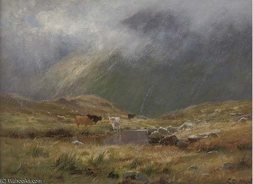 Mist Over The Highlands by Louis Bosworth Hurt (1856-1929, United Kingdom)