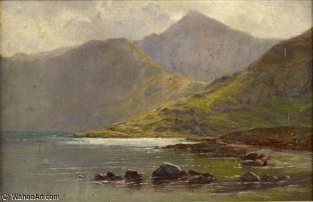 Mists Lifting Over A Highland Loch by Louis Bosworth Hurt (1856-1929, United Kingdom)