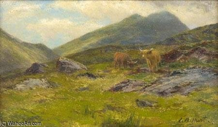 On The Hills Glen Goil by Louis Bosworth Hurt (1856-1929, United Kingdom) | Famous Paintings Reproductions | WahooArt.com