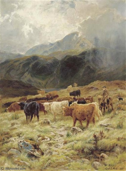 On The Loch Maree, Ross-shire by Louis Bosworth Hurt (1856-1929, United Kingdom)
