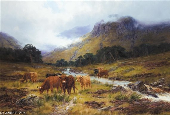 The Highland Burn by Louis Bosworth Hurt (1856-1929, United Kingdom) | Museum Quality Reproductions | WahooArt.com