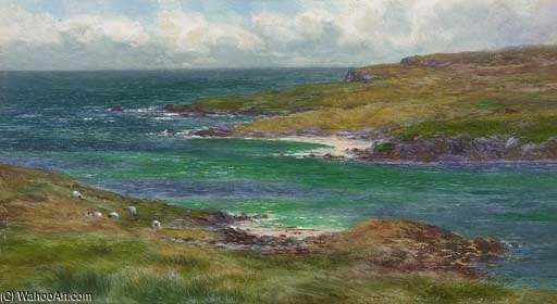 The Sound Of Noss, Shetland by Louis Bosworth Hurt (1856-1929, United Kingdom)