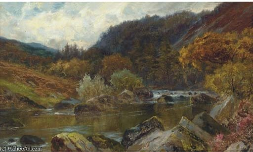 The Wooded River Valley by Louis Bosworth Hurt (1856-1929, United Kingdom)
