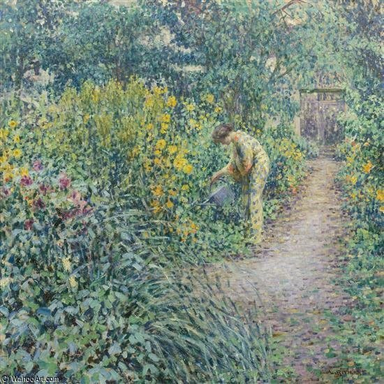Garden On A Gray Day by Louis Ritman (1889-1963, Russia)