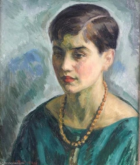 Girl In Green by Louis Ritman (1889-1963, Russia) | Art Reproduction | WahooArt.com