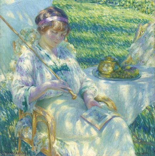 Lady In The Sunshine Reading by Louis Ritman (1889-1963, Russia) | Famous Paintings Reproductions | WahooArt.com