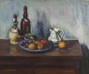 Louis Ritman - Still Life With Fruit And Bottle