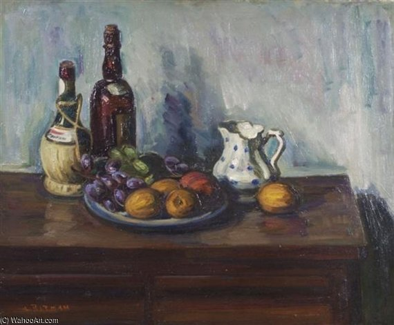Still Life With Fruit And Bottle by Louis Ritman (1889-1963, Russia) | Art Reproduction | WahooArt.com
