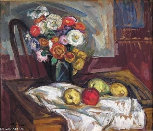 Still Life With Fruit And Flowers by Louis Ritman (1889-1963, Russia)
