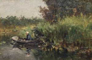 Paul Joseph Constantine Gabriel - A Fisherman In A Rowing Boat