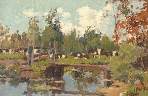Paul Joseph Constantine Gabriel - Cows On The Water's Edge