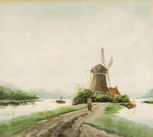 Paul Joseph Constantine Gabriel - Dutch Scene With A Windmill